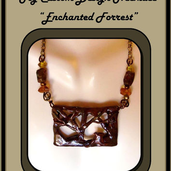Statement Jewelry,Fall Leaves, Forrest, Leaf jewelry, Nature jewelry, Amber, Healing jewlery, Clay jewelry, heart pendants, heart necklace