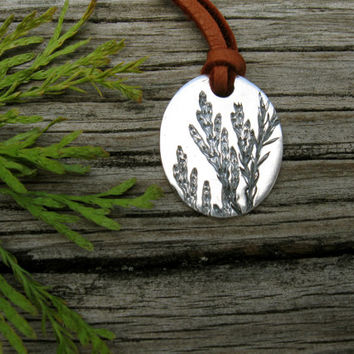 Silver leaf necklace, woodland necklace with leather cord, oval foliage pendant - leaves plant nature garden outdoors forest botanical fall