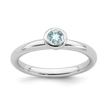 Sterling Silver Stackable Expressions 4mm Round Low Set Aquamarine Ring