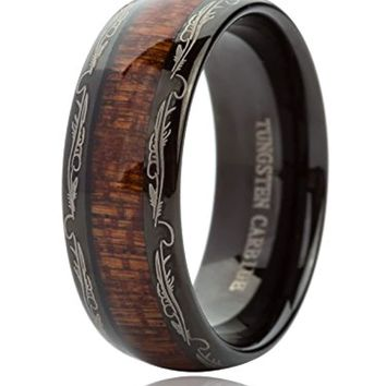 CERTIFIED 8MM Tungsten Carbide Koa Wood Inlay Dome Wedding Band
