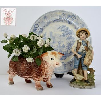 Vintage Country French Hereford Bull / Cow Figurine Planter Relpo 2020