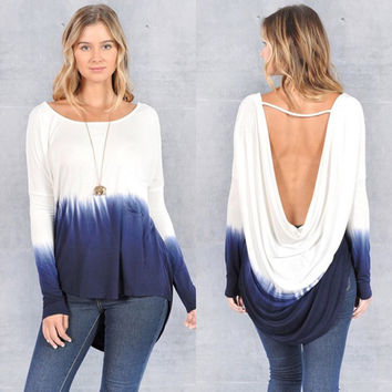 Low Back High-Low Gradient Tops 22201