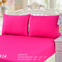 Tache 3 Piece Pink Super Star Bed sheet Set (Queen)(Fitted Sheet)