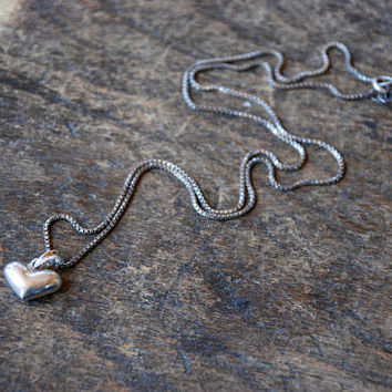 """Vintage Sterling Silver Puffy Heart Pendant Necklace 925 18"""" Box Chain Love Token Sweetheart 1980's // Vintage Sterling Silver Jewelry"""