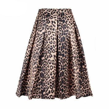 2016 Spring New Women Satin Leopard Print High Waist Pleated Long Puff Midi Skirt Size S-XLarge In Stock Free Shipping