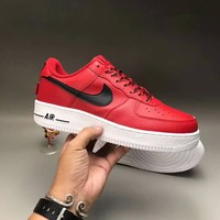"""""""Nike Air Force 1"""" Unisex Classic Casual Fashion Soft Genuine Leather Low Help Plate Shoes Couple Thick Bottom Platform Sneakers"""