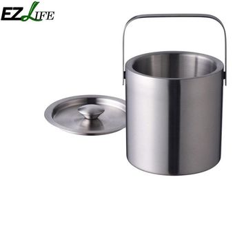 EZLIFE Double Layer Stainless Steel Portable Ice Buckets Barware Kitchen Tools Wine Champagne Cooling Barrel Dropship