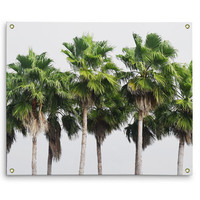 Sand Key Palms - Wall Tapestry, Beach Green Palm Trees Landscape, Surf Style Accent Tropical Decor Hanging Tapestry. In Small Medium Large