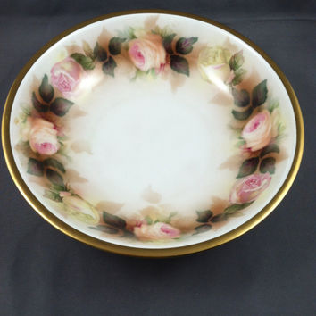 Vintage German Bowl, RS Germany, Prussia roses bowl, German china, Prussian china, Antique German Bowl,