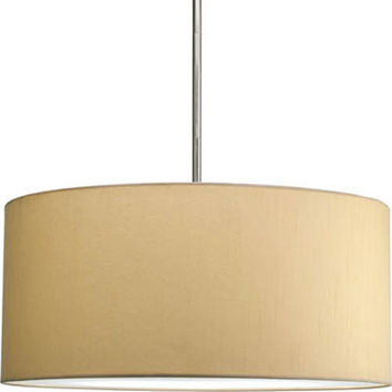 Progress Lighting P8825--01 Markor and Choloe Beige Silken Fabric 22 x 10-Inch Modular Pendant with 22-Inch Drum Shade