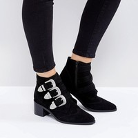 ASOS RELIEVE Suede Buckle Ankle Boots at asos.com