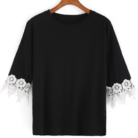 Black Lace Embellished Short Sleeve T-Shirt