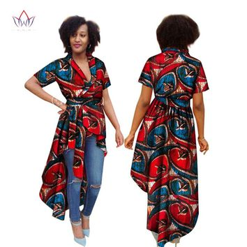 Summer Dress for Women Short Sleeve Trench Women Maxi Outwear Trench Coat  Dashiki African Print Bazin Riche Clothes 6XL WY1595