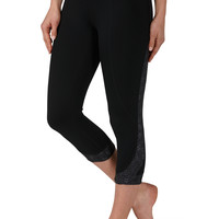 Patterned Waistband And Side Capris - Black