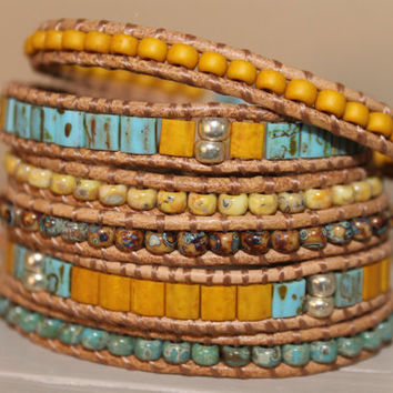 6 Layer Leather Wrap bracelet ,Turquoise Yellow Picasso beads, summer spring bracelet, trending gift