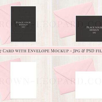 5x7 Card and Envelope Mockup - (51); styled stock photography; invitation mockup, jpg & psd files