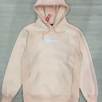Supreme Fashion Casual Long Sleeve Pullover Pink Box Logo Hoodie G