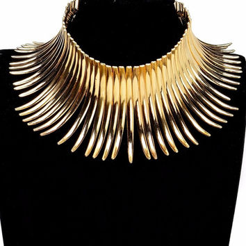 Lady Fashion Unique Xmas Gift Jewelry 2 Colors Sparkling Silver & Golden Chunky Choker Noble New Toques Bib Pendant Necklace