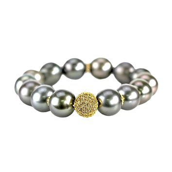 1.51ct Fancy Diamonds in 18K Yellow Gold & Tahitian Pearls Stretch Bracelet 6.5""