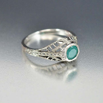Emerald Ring, Solitaire Unique Engagement Ring, Sterling Silver Filigree Gemstone Ring, Vintage Art Deco Style Jewelry, Natural Emerald Ring