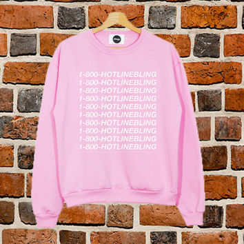 Sweatshirt sweater unisex adults 1-800-hotlinebling drake