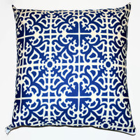 Blue and White PIllowcase // Blue Throw Pillow // Trellis Couch Pillow // Trellis Pillow Cover // Blue and White Pillow Cover // Home Decor