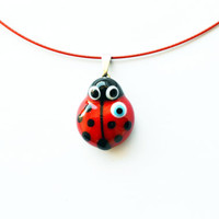 LadyBug Pendant Ladybird Necklace Bracelet With Evil Eye , Red Glass With Black Dots Murano Glass Lamp Work Lady Bug Pendant Glass Jewelry