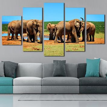 Elephant Canvas Paintings 5 Piece Wall Poster