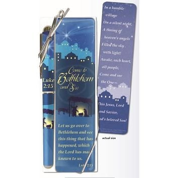 Come to Bethlehem Holiday Christmas Bookmark and Pen Set