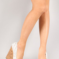 Delicious Sure-AS Lace Round Toe Platform Wedge