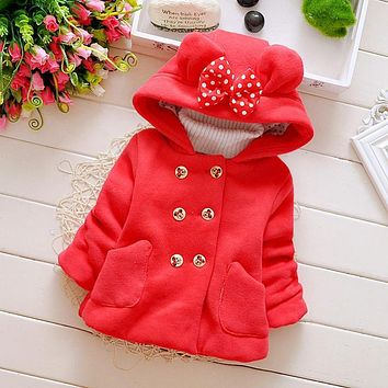 Winter Autumn Baby Girls Cotton Bow with Hooded Princess Party Wear Jacket Infant Kids Outerwear Coats roupas de bebe casaco