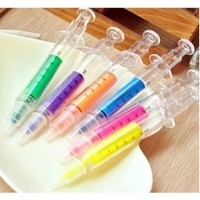 6pc Syringe Highlighter Pens with 6 Colors