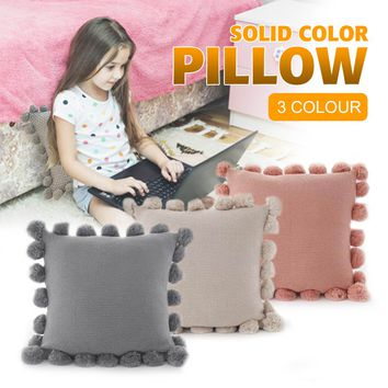 Bathroom Pillow Case Cushions Cover with Hanging Ball Soft Home Decoration Bed Pillow Bedding Supplies Bed Back Cushion for Kid