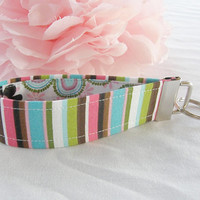 Ready To Ship Pink Green Turquoise White Brown Black Stripe and Flower Key Fob Wristlet Key Chain