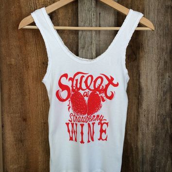 Sweet As Strawberry Wine Lace Tank White/Red | Bandit Brand General Store