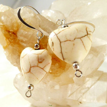 Elegant Magnesite Heart Earrings with Sterling Silver Balls ~ Boho Chic ~ Trending Womans Jewelry