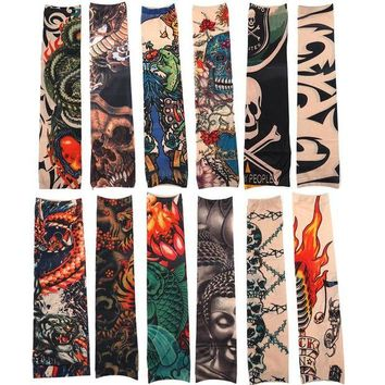 ac DCCKO2Q 12pcs/Set Fashion Temporary Tattoo Sleeves Outside Hiking Riding Anti Sun Tattoo Sleeves Good Quality Tattoo Makeup Accessories