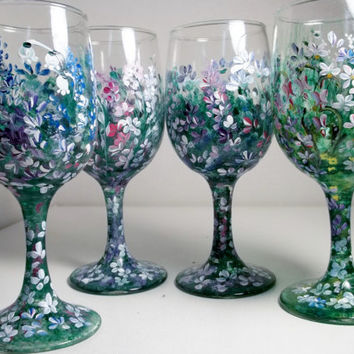 A Set of Four Vintage Stem Glasses Hand Painted Original Design Folk Art My Garden Style.