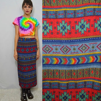 90s Southwestern Skirt Ikat Soft Grunge Hippie Boho Gypsy Wrap Skirt Long Small Medium High Waist Cute Hipster Fall Autumn 1990s