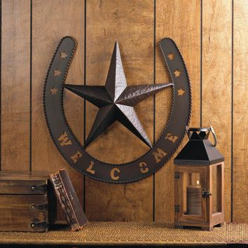 "Wall Decor-Iron Lone Star ""Welcome"" Horseshoe"