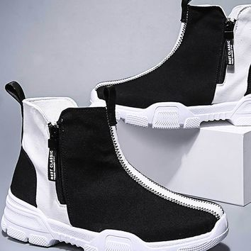 Men Side Zip Two Tone Ankle Boots