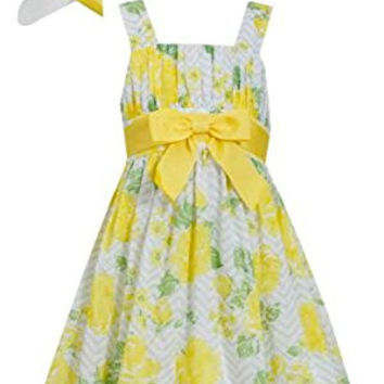 Bonnie Jean Girls Easter Floral Spring Poplin Dress And Hat, Yellow, 8