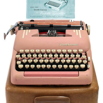 1955 Pink Smith Corona Silent Super Typewriter / Original Case / New Ribbon / Working Typwriter