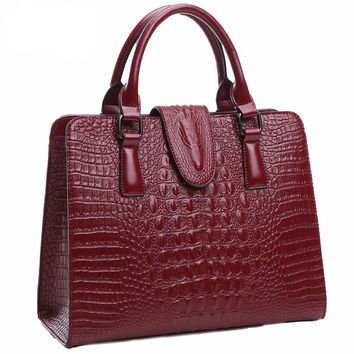 100% Genuine Leather Crocodile Pattern Handbag