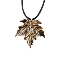 Leaf Necklace, Maple Leaf Necklace, Wooden Leaf Pendant, Leaf Pendant, Wood Leaf Necklace, Leaf Jewelry, Wood Jewelry, Hand Carved Pendant