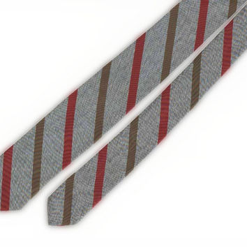 Silvery grey skinny tie with burgundy and hunter stripes,Superba, 100% Dacron, hand washable, freshly laundered and ready to wear.