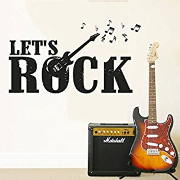 Wall Decal Vinyl Sticker Decals Art Decor Design Sign Lets Rock Guitar Electro Music Notes Band Mans Gift Bedroom Dorm (r429)