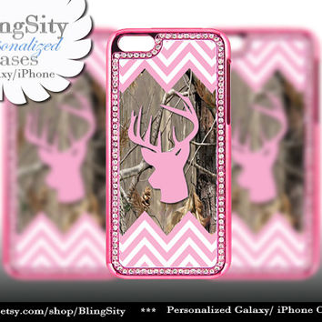 Monogram Pink iPhone 5 5C Case Chevron Deer Buckhead Camo Bling Rhinestone Metallic Look real tree Case Cover Country Southern Girl
