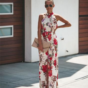 Halter Style Casual Loose Female Summer Floral Dress Boho Long Maxi Holiday Party Sleeveless Dress Clothes