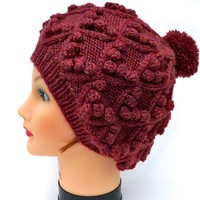 Slouchy PomPom Hat - Cable Knit Beanie - Bobble Hat In Spiced Wine - Wool Headwear - Women's Accessories - Winter Fashion